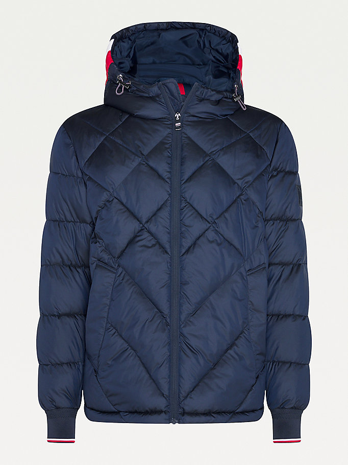 blue big & tall diamond quilted hooded jacket for men tommy hilfiger