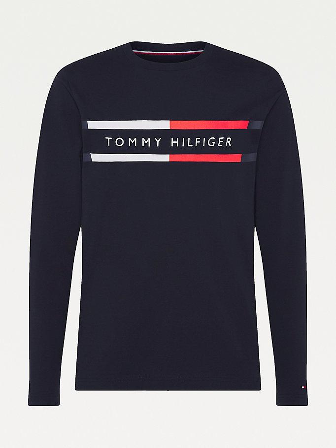 blue big & tall long sleeve organic cotton t-shirt for men tommy hilfiger