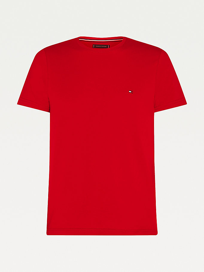 rot big & tall slim fit t-shirt aus bio-baumwolle für men - tommy hilfiger