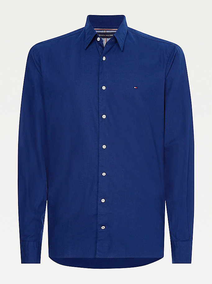blue stretch cotton slim fit shirt for men tommy hilfiger