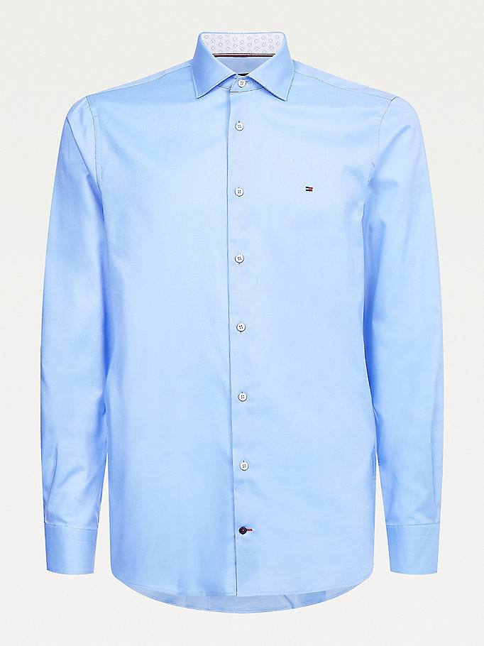 blue cotton twill slim fit shirt for men tommy hilfiger