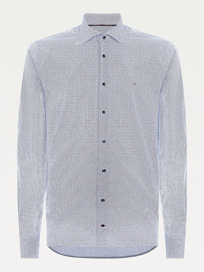 blue geo print slim fit cotton shirt for men tommy hilfiger