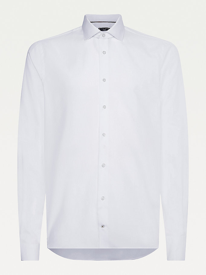 white textured slim fit shirt for men tommy hilfiger