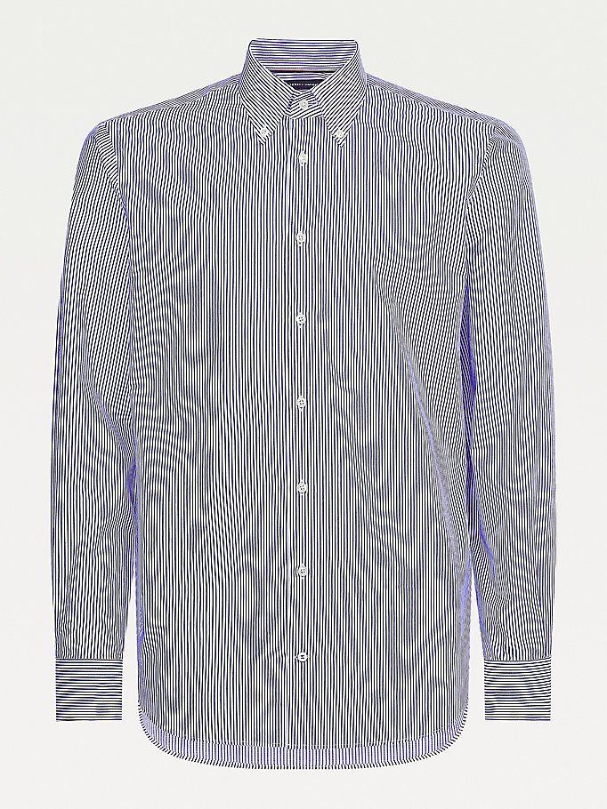 blue stripe slim fit shirt for men tommy hilfiger