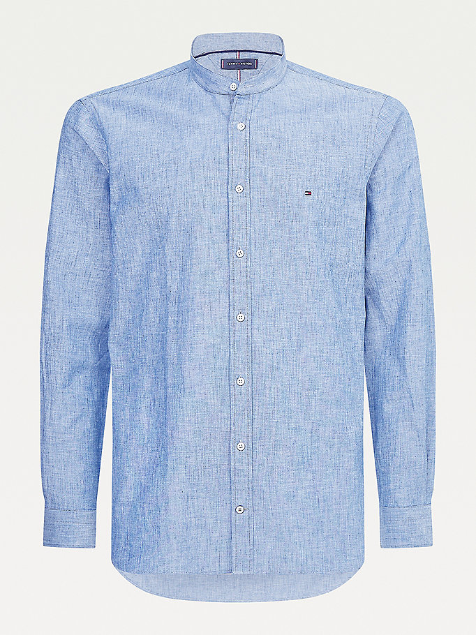 blue chambray slim fit shirt for men tommy hilfiger