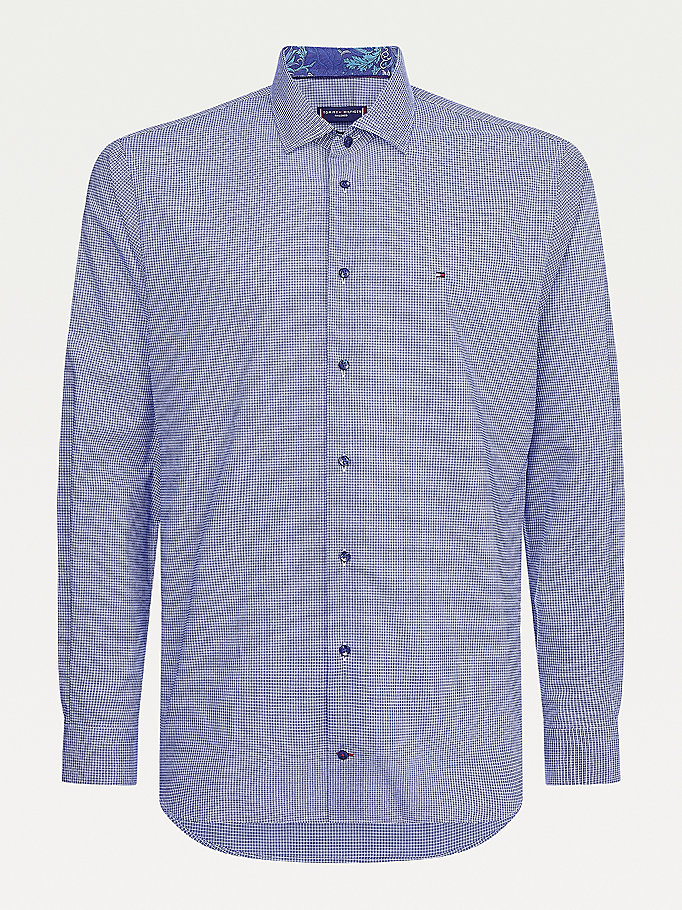 blue micro check cotton shirt for men tommy hilfiger