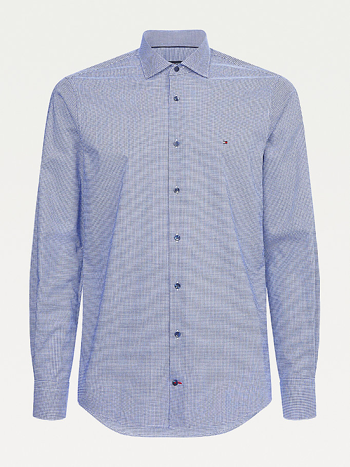 blue micro check slim fit shirt for men tommy hilfiger
