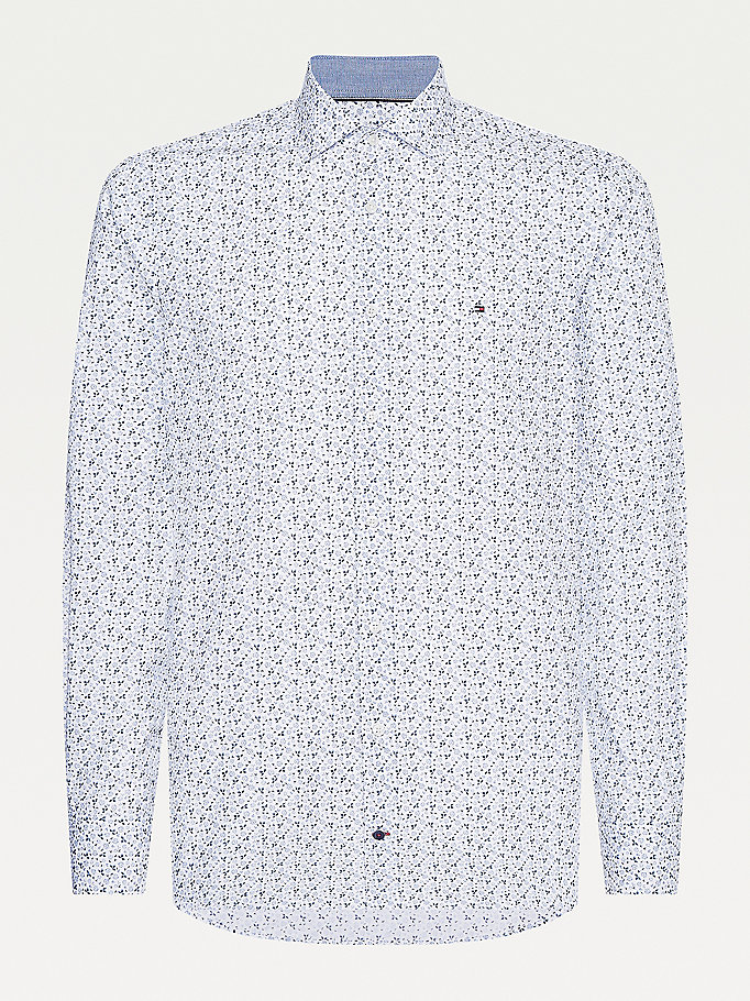 white floral print slim fit shirt for men tommy hilfiger