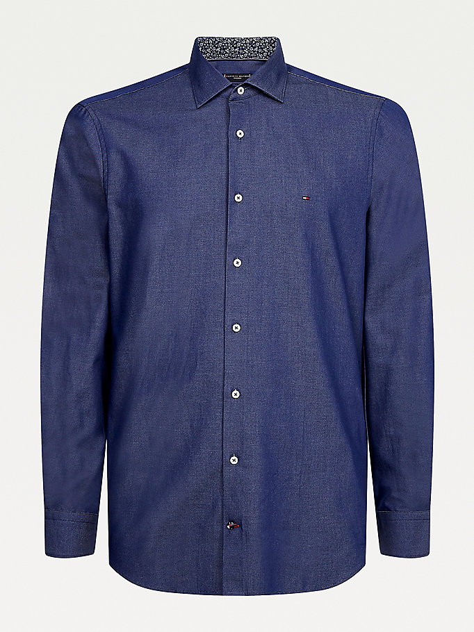 blue solid wash slim fit shirt for men tommy hilfiger