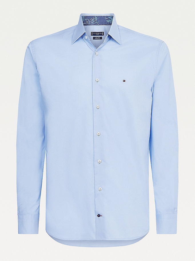 camicia regular fit in cotone tinta unita blu da men tommy hilfiger