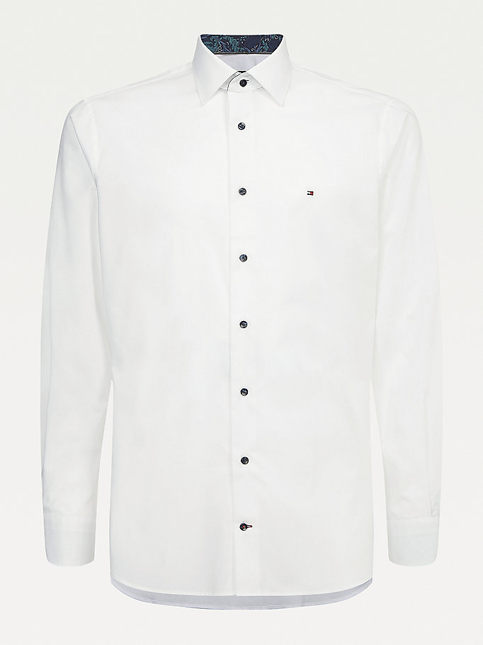 white solid wash cotton regular fit shirt for men tommy hilfiger