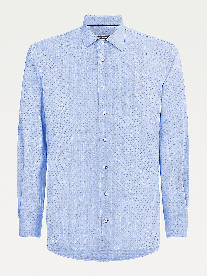blue micro geometric print regular fit shirt for men tommy hilfiger