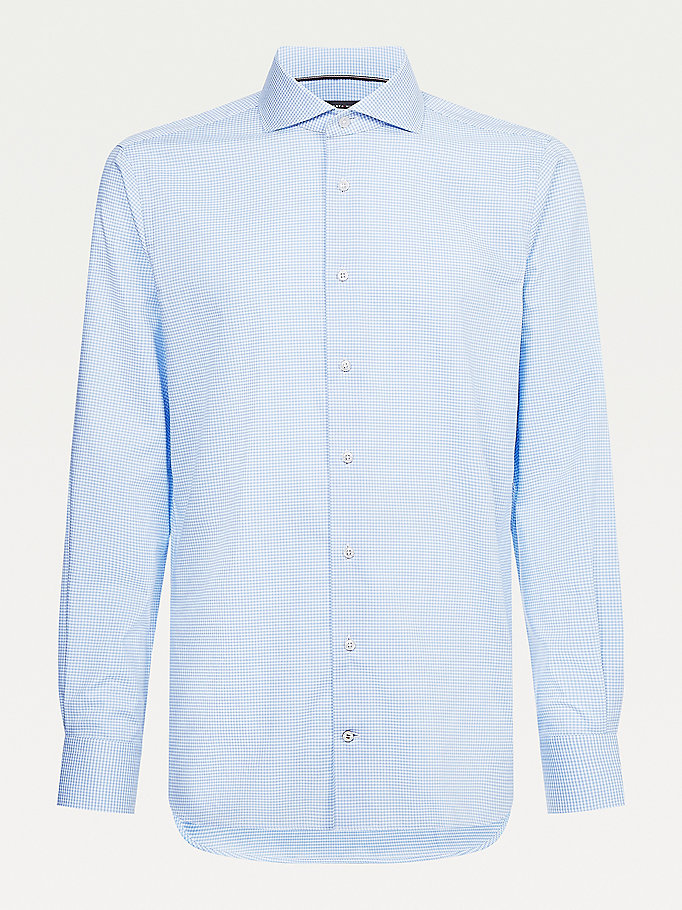blue micro gingham check shirt for men tommy hilfiger