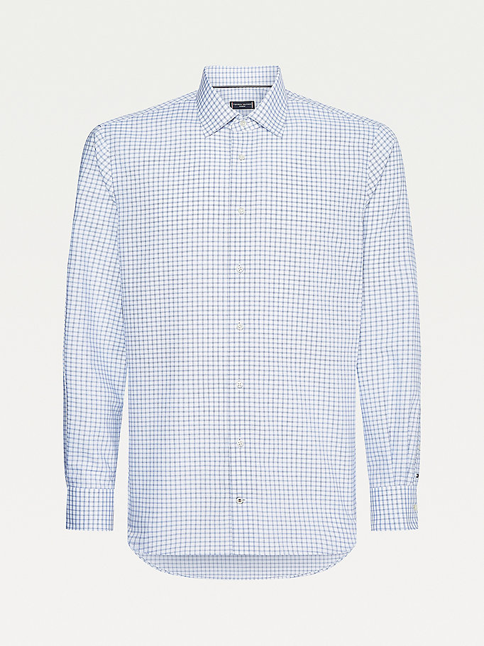 blue non-iron checked shirt for men tommy hilfiger