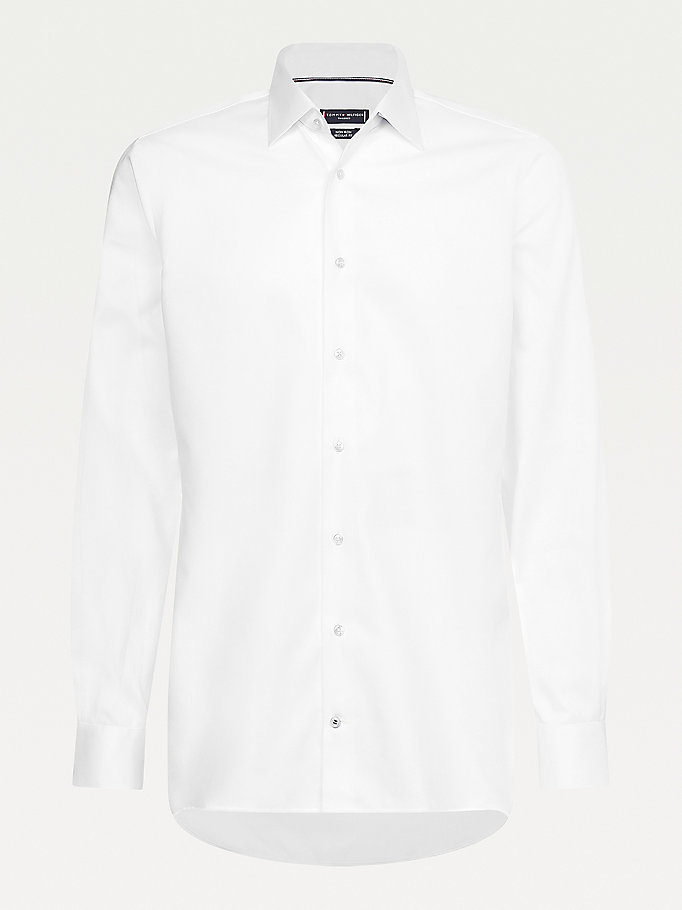 white non-iron dobby shirt for men tommy hilfiger