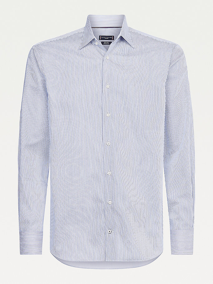blue all-over stripe cotton shirt for men tommy hilfiger