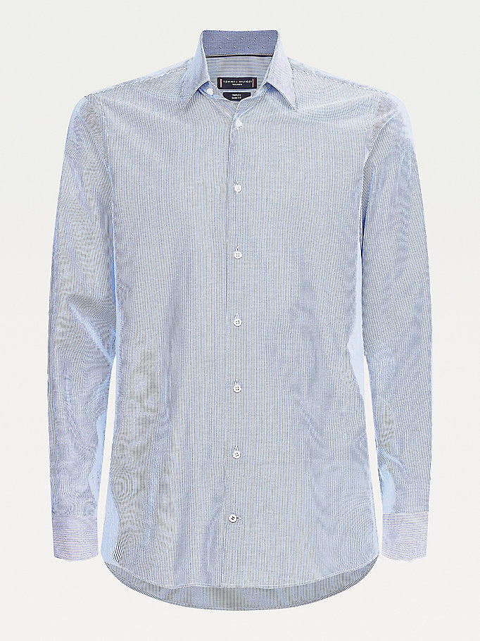 camicia th flex slim fit gessata blu da uomo tommy hilfiger