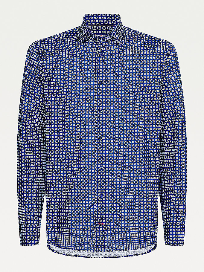 blue square dot print shirt for men tommy hilfiger