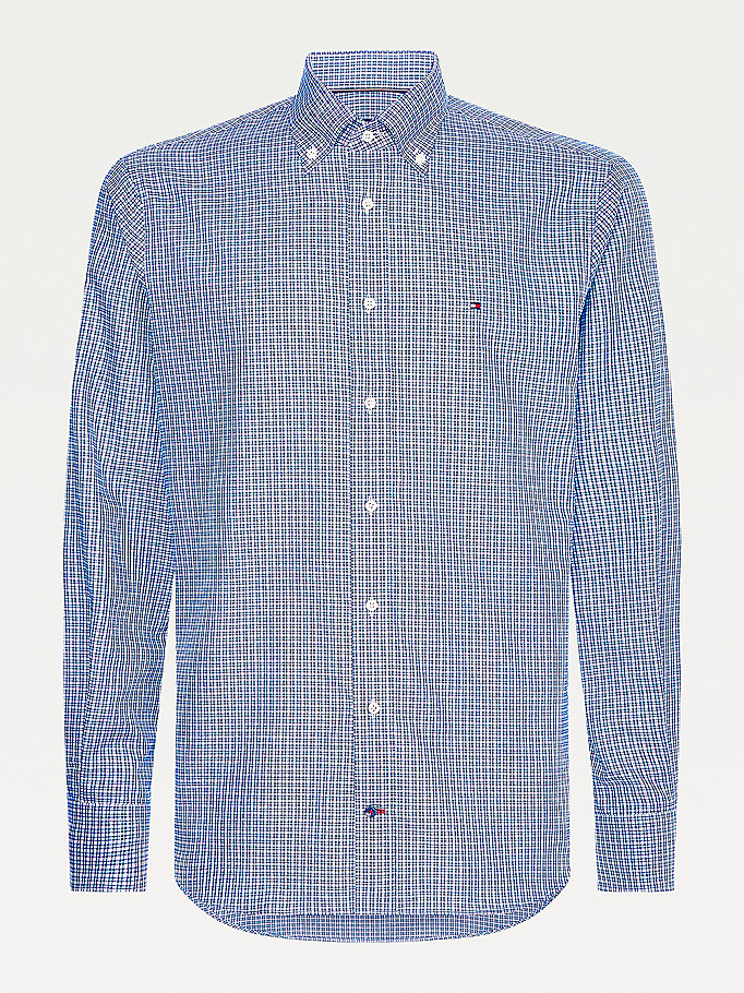 blue oxford cotton check shirt for men tommy hilfiger