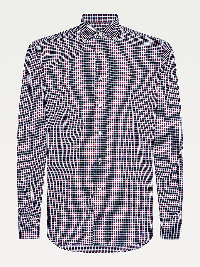 red oxford cotton check shirt for men tommy hilfiger
