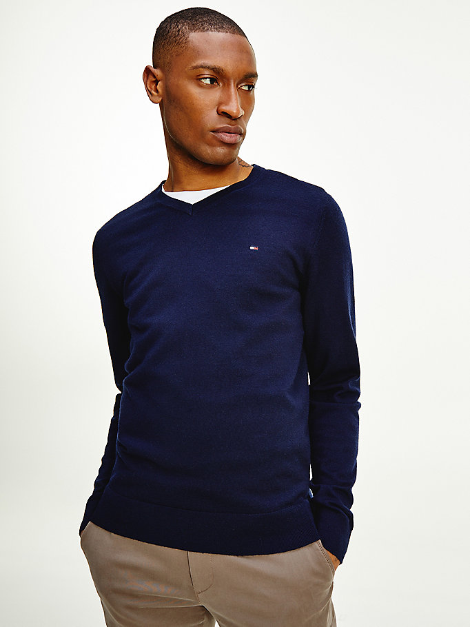 blue luxury wool v-neck jumper for men tommy hilfiger