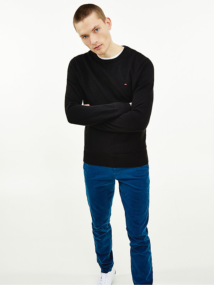 black organic cotton crew neck jumper for men tommy hilfiger