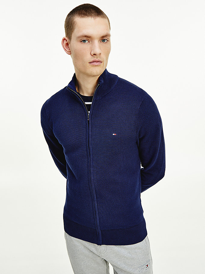 blue organic cotton zip-thru jumper for men tommy hilfiger