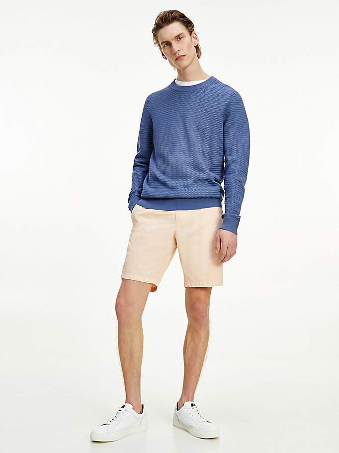 blue basket knit organic cotton jumper for men tommy hilfiger