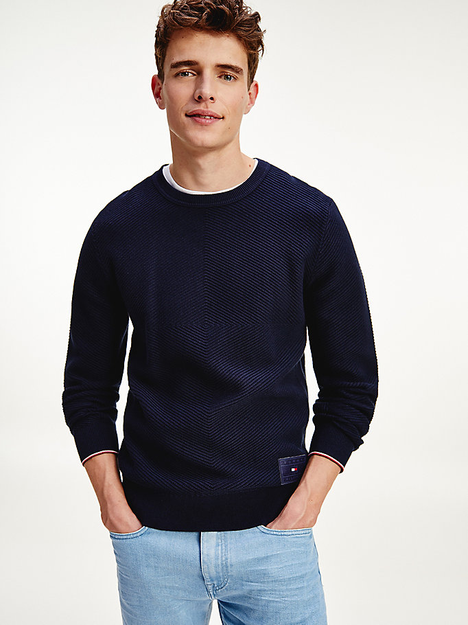 blue textured stripe organic cotton jumper for men tommy hilfiger