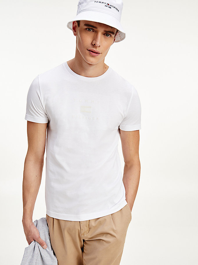 white organic cotton tonal logo embroidery t-shirt for men tommy hilfiger