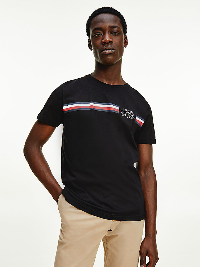 black signature detailing organic cotton t-shirt for men tommy hilfiger