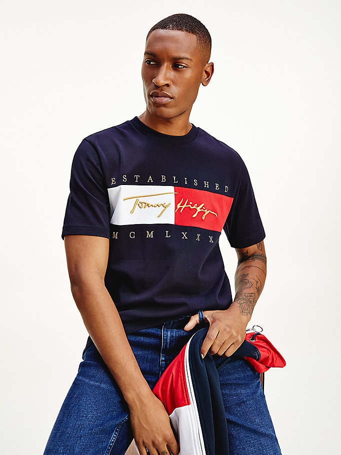 blue signature logo embroidery t-shirt for men tommy hilfiger