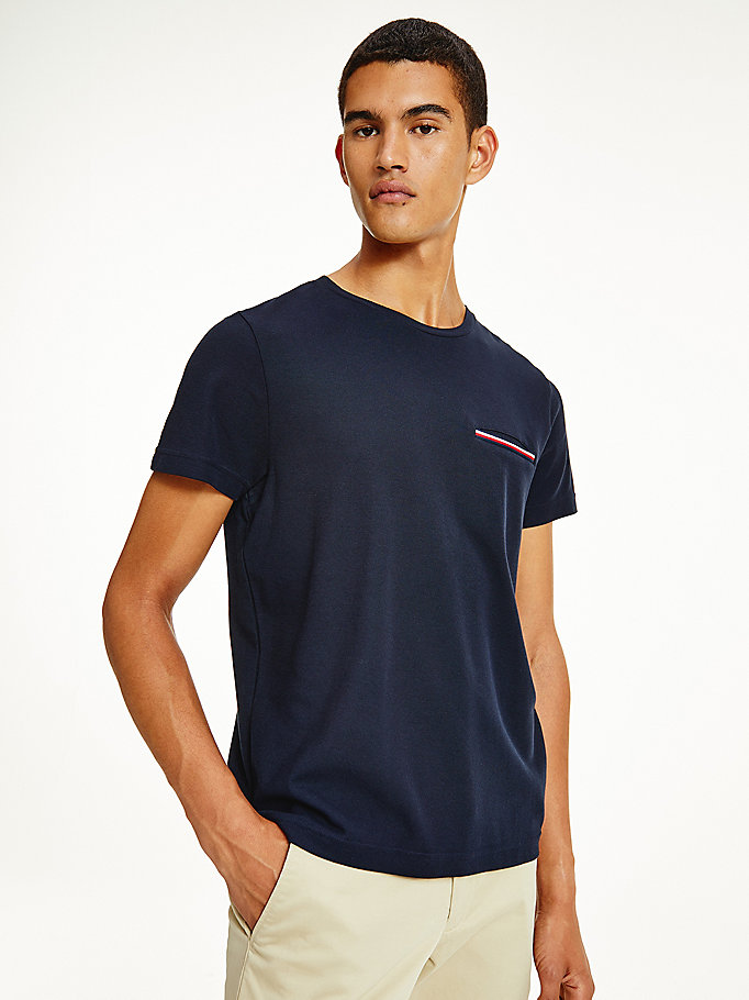 blue minimalist pocket organic cotton t-shirt for men tommy hilfiger