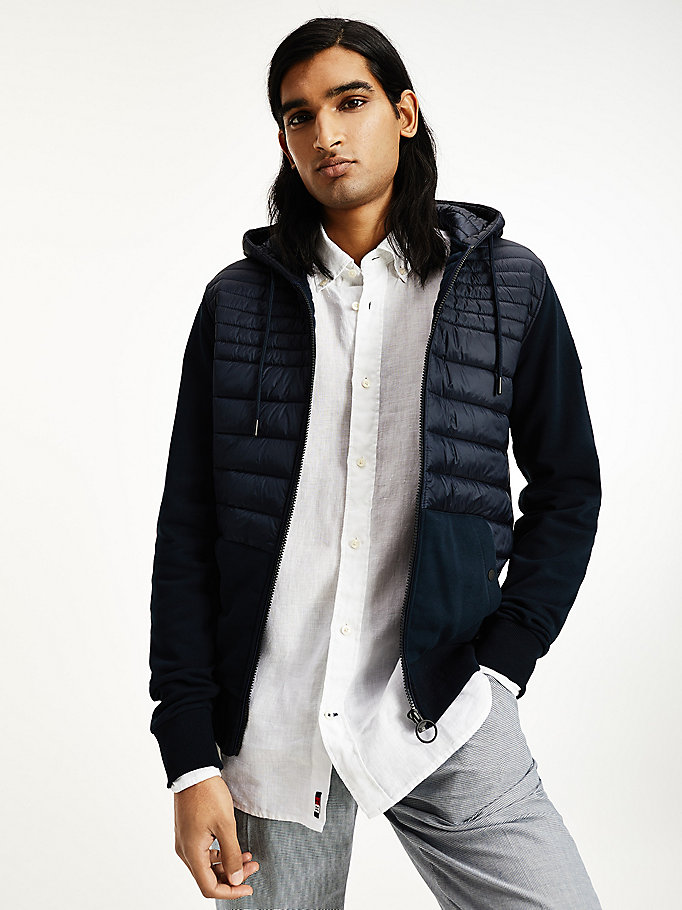 blue quilted zip-thru hoody for men tommy hilfiger