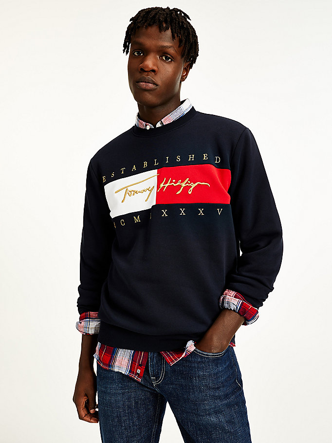 blue signature logo embroidery sweatshirt for men tommy hilfiger