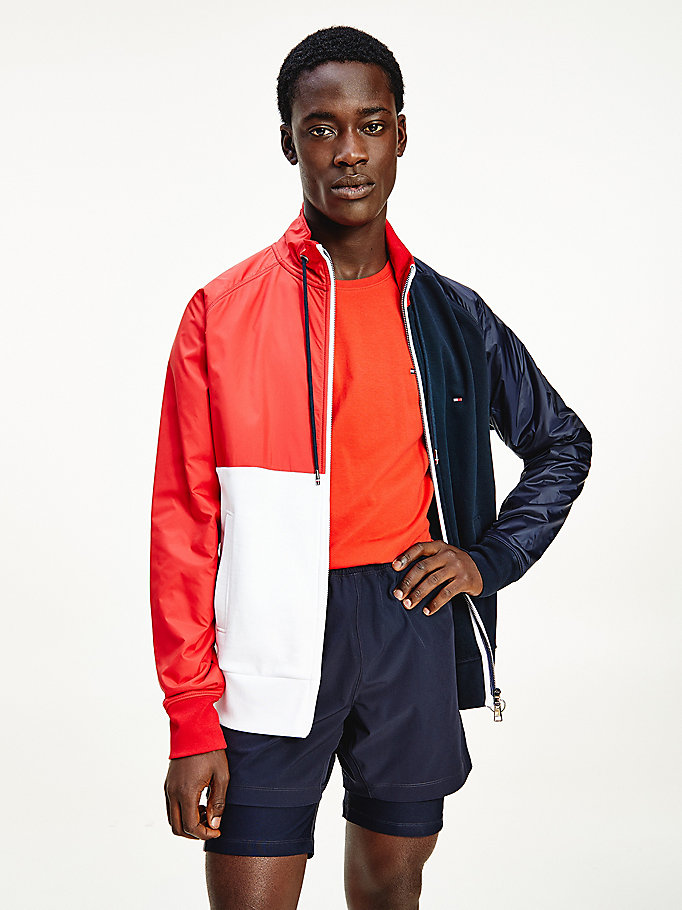blue mixed materials colour-blocked zip-thru jacket for men tommy hilfiger