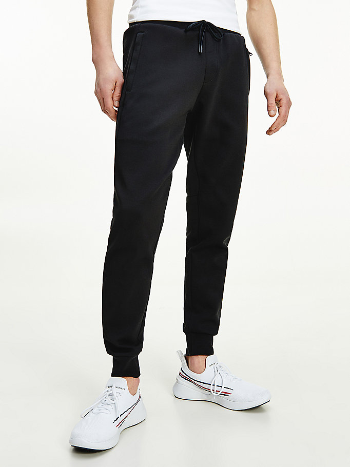 black essential drawstring waist tapered joggers for men tommy hilfiger