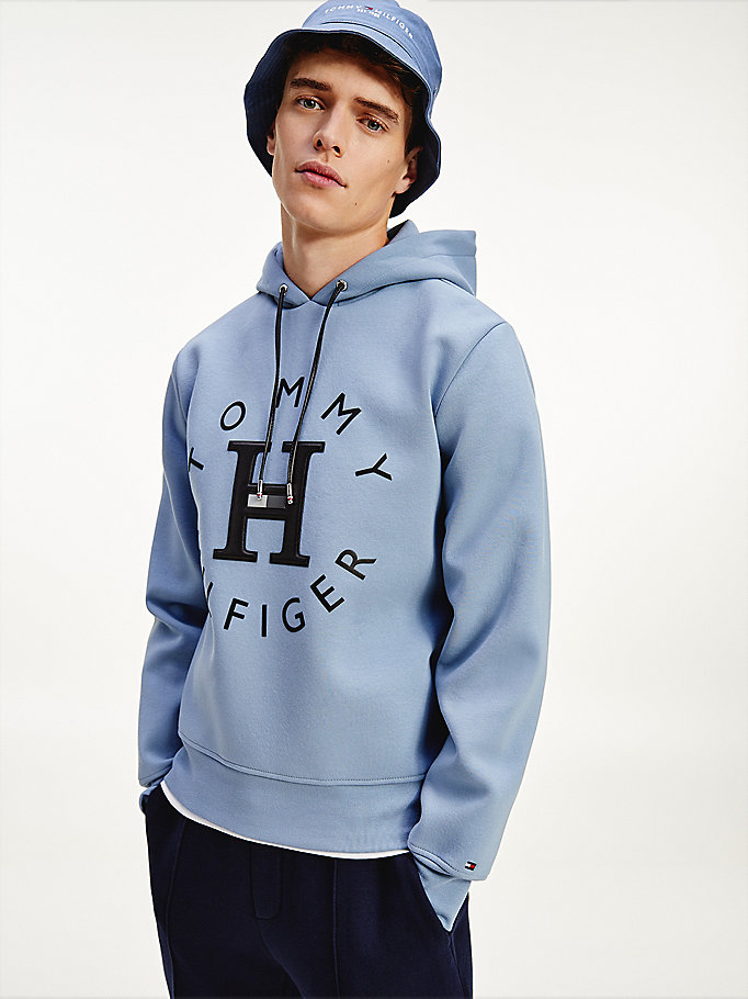 blue elevated applique logo cotton hoody for men tommy hilfiger