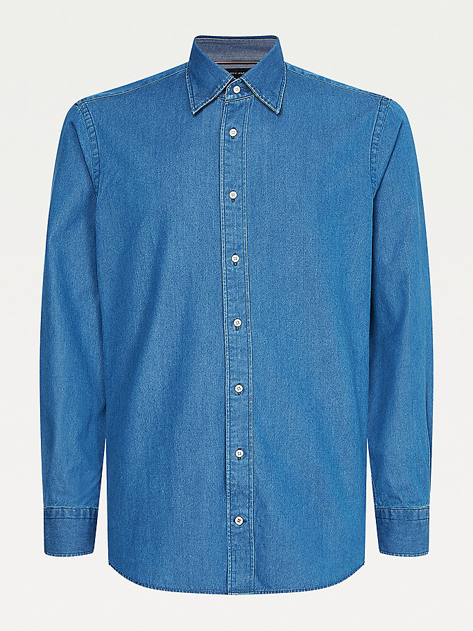 blue elevated pure cotton denim shirt for men tommy hilfiger