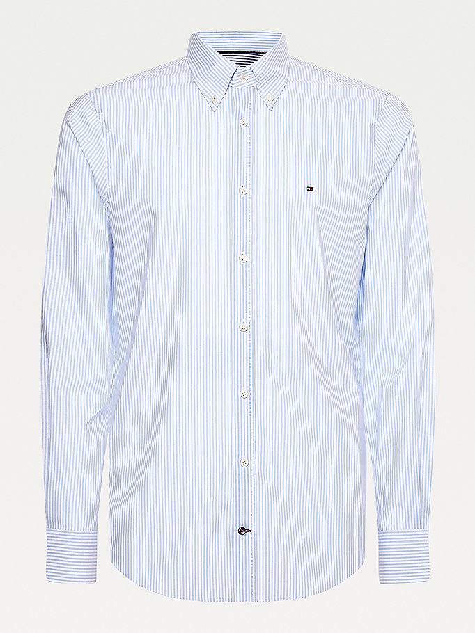 blue stripe print organic cotton shirt for men tommy hilfiger