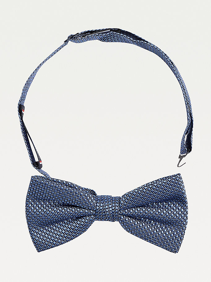 blue houndstooth check silk bow tie for men tommy hilfiger