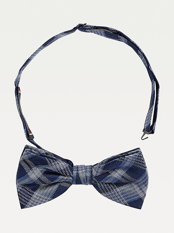 blue all-over check silk bow tie for men tommy hilfiger