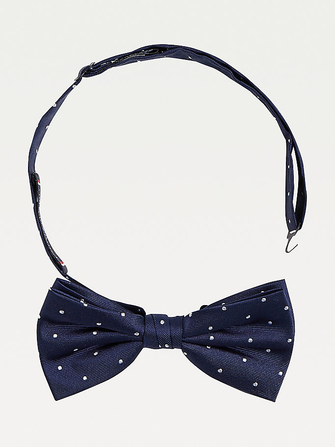 blue polka dot silk bow tie for men tommy hilfiger