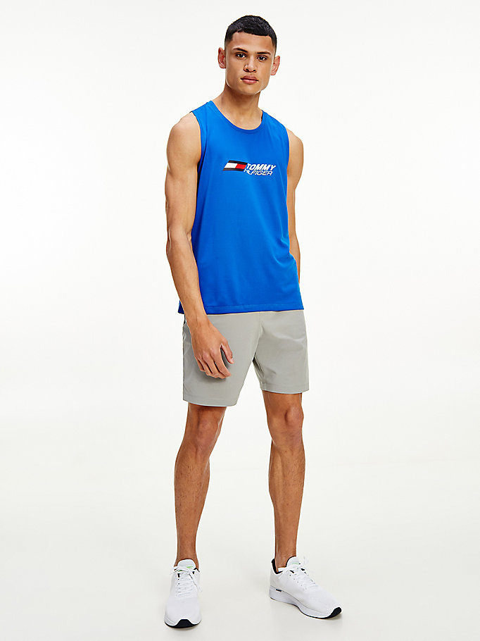 blue essential sport rubberised logo tank for men tommy hilfiger