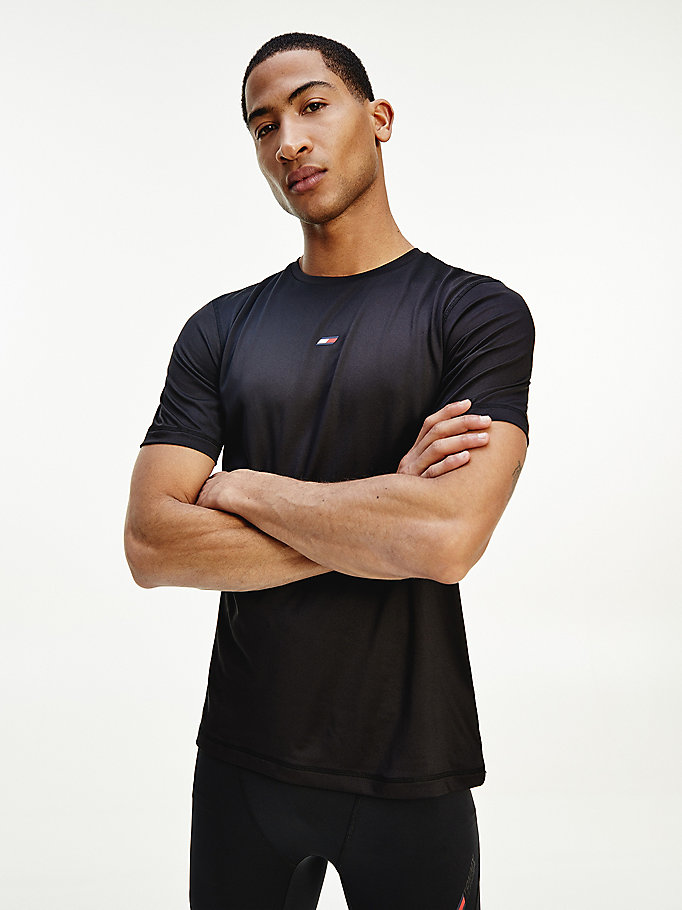 black sport rubberised flag slim fit t-shirt for men tommy hilfiger