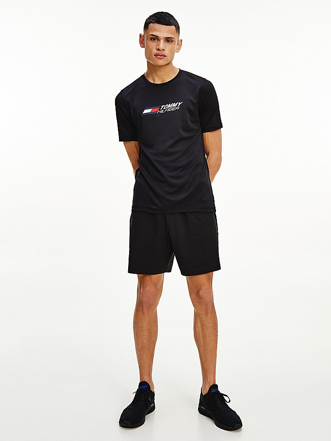schwarz sport essential slim fit trainings-t-shirt für herren - tommy hilfiger