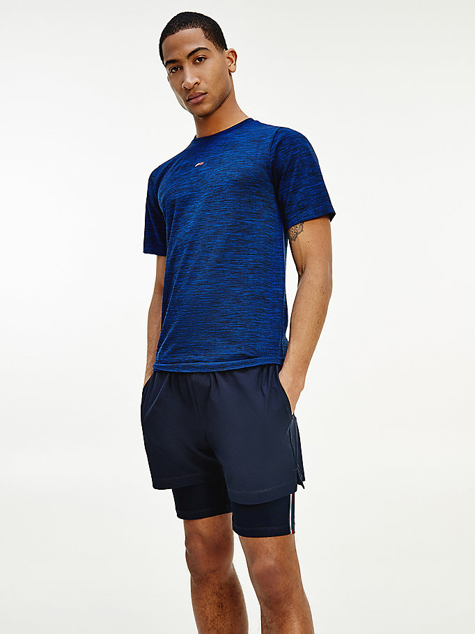 blauw sport seamless slim fit t-shirt voor heren - tommy hilfiger