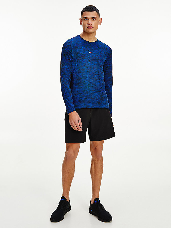 blue sport long sleeve seamless t-shirt for men tommy hilfiger