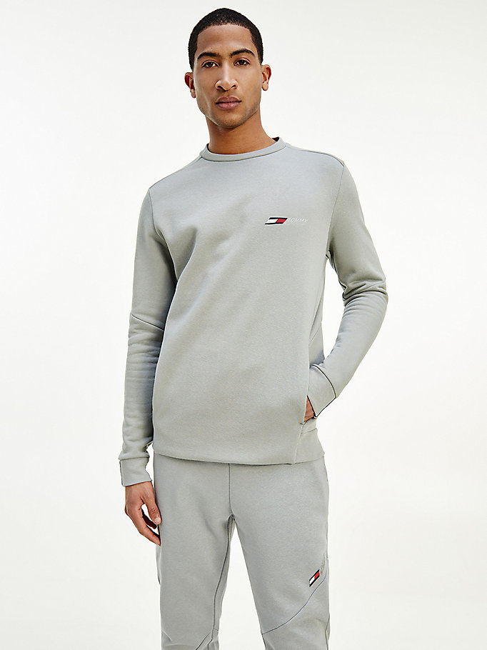 grey sport th cool relaxed fit fleece sweatshirt for men tommy hilfiger