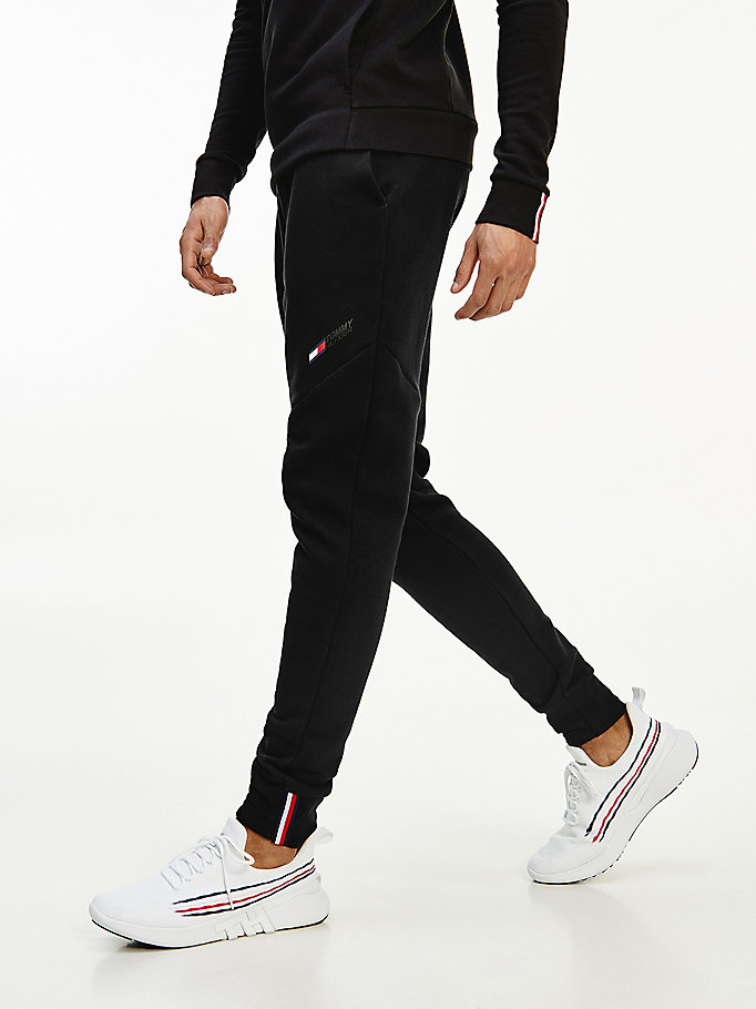 black sport th cool logo fleece joggers for men tommy hilfiger